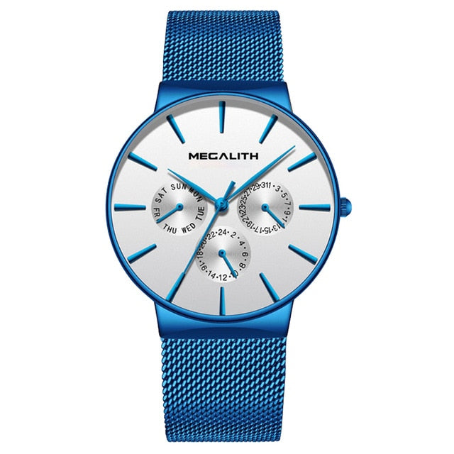Casual Mens Watch With Mesh Band - Wihte Mesh - Watches