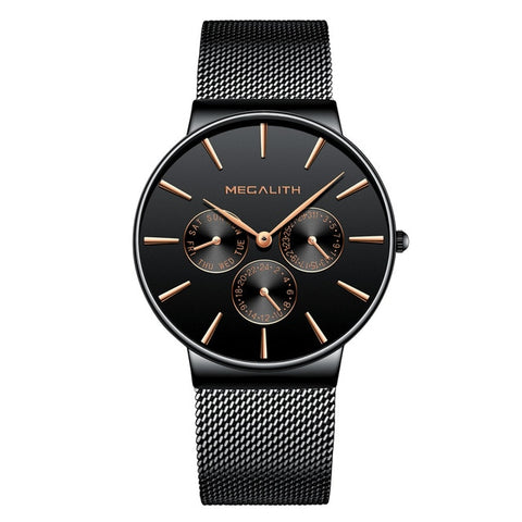 Casual Mens Watch With Mesh Band - Black Gold - Watches