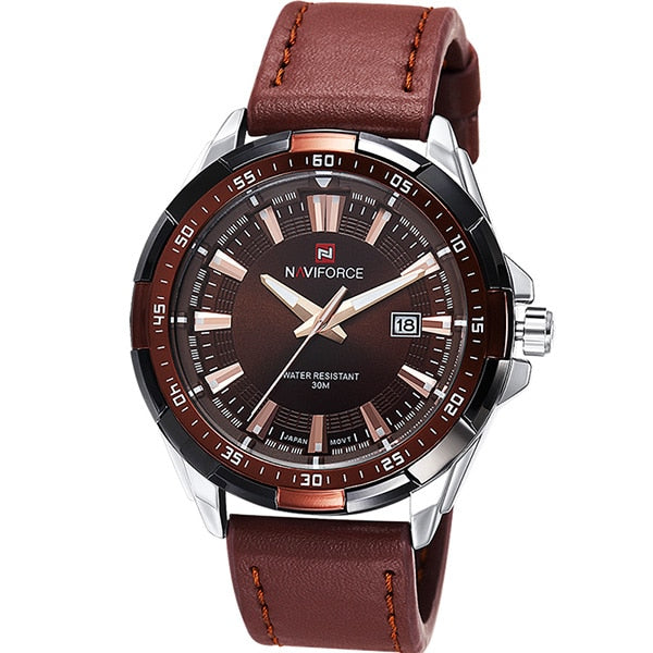 Leather Casual Watch With Date - Silver Gold - Leather Watches
