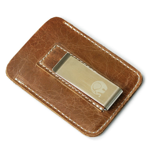 Brown Leather Wallet With Money Clip - Minimalist Wallets For Men