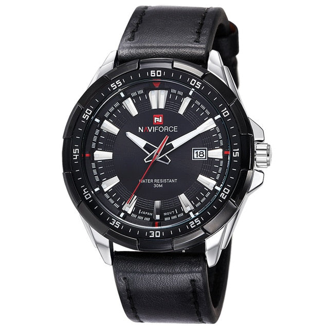 Leather Casual Watch With Date - Silver Black - Leather Watches