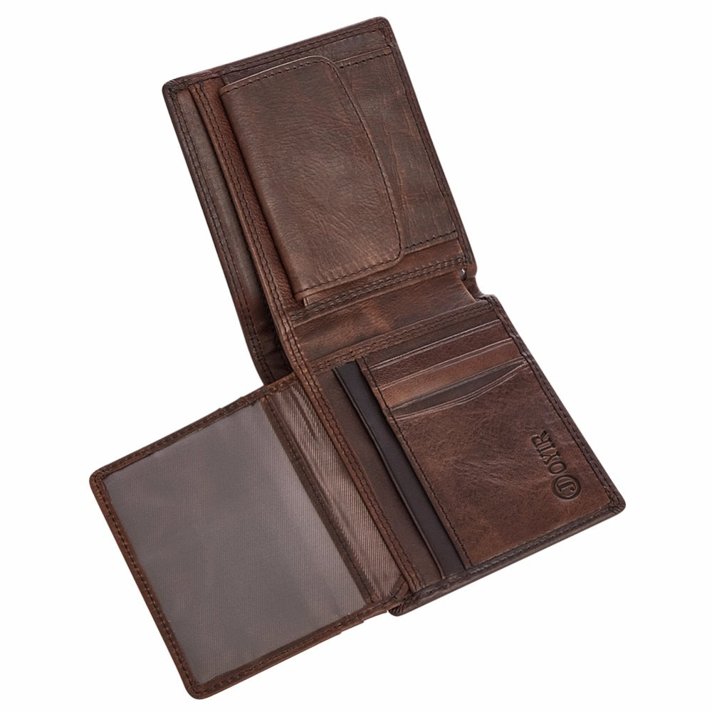 Vintage Trifold Zip Leather Wallet For Men - Trifold Wallet