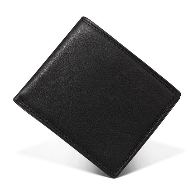 Vintage Trifold Zip Leather Wallet For Men - Black - Trifold Wallet