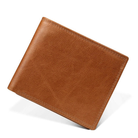 Vintage Trifold Zip Leather Wallet For Men - Brown - Trifold Wallet