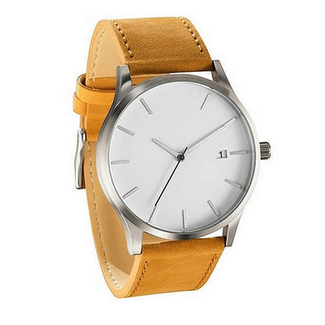 White Face Minimalist Watch - Gold - Leather Watches