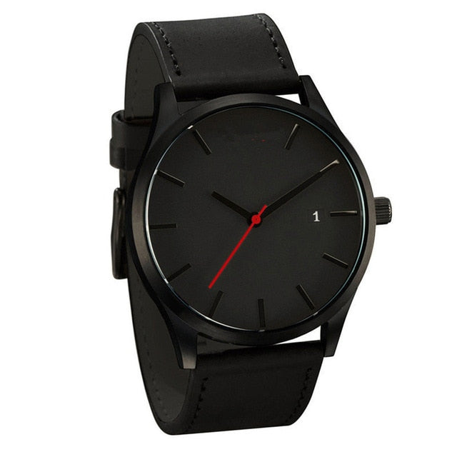 White Face Minimalist Watch - Black - Leather Watches