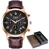 Leather Waterproof Chronograph Watch - Black Gold Black - Leather Watches