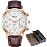 Leather Waterproof Chronograph Watch - Rose Gold White - Leather Watches