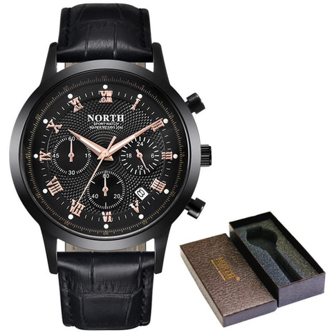 Leather Waterproof Chronograph Watch - Black - Leather Watches