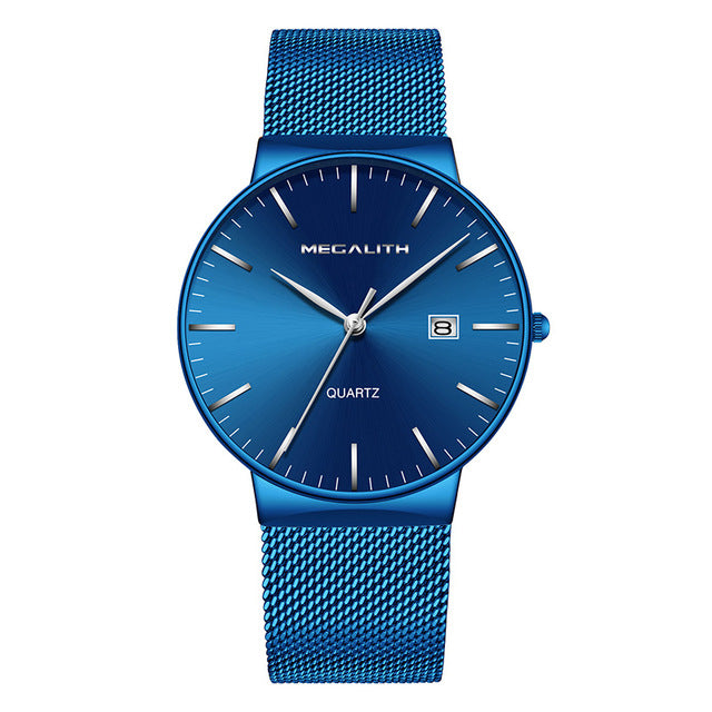 Casual Mens Watch With Mesh Band - Blue Mesh-3 - Watches