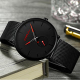 Black Face Minimalist Watch With Colored Hands - Watches