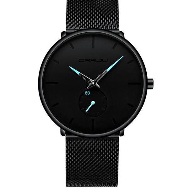 Black Face Minimalist Watch With Colored Hands - Black Blue - Watches