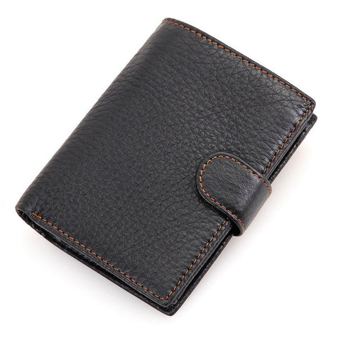 Leather Wallet With Zipper Compartment - Black - Minimalist Wallets For Men