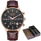 Water Resistant Sports Watch With Luminous Hands - Rose Gold Black - Leather Watches