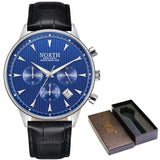 Water Resistant Sports Watch With Luminous Hands - Silver Blue - Leather Watches
