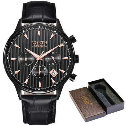 Water Resistant Sports Watch With Luminous Hands - Black - Leather Watches
