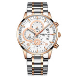 Stainless Steel Quartz Watch - Rose Gold White - Mechanical Watches