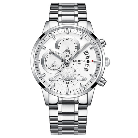 Stainless Steel Quartz Watch - Silver White - Mechanical Watches