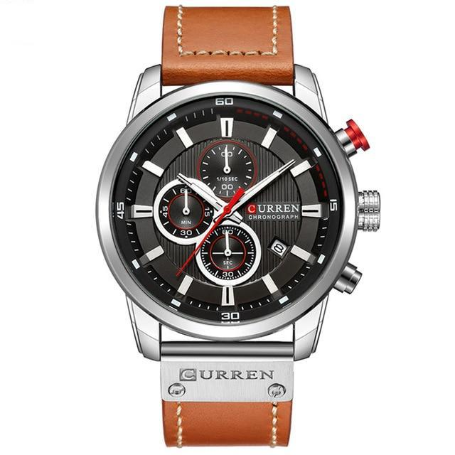 Chronograph With Brown Leather Strap - Brown Black White - Leather Watches