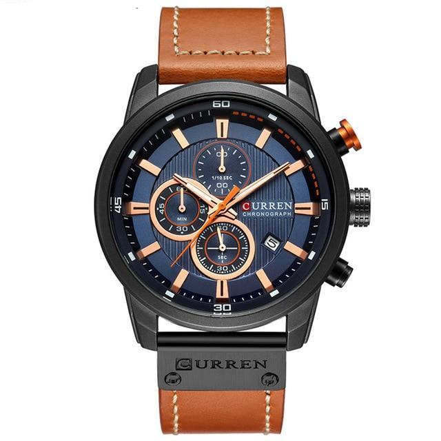 Chronograph With Brown Leather Strap - Brown Blue Black - Leather Watches