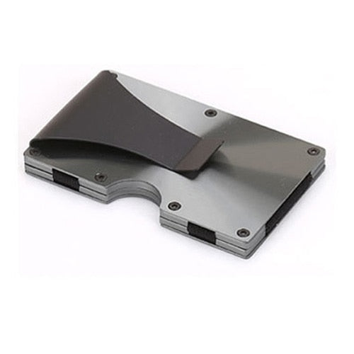 Stainless Steel Wallet With Money Clip - Gray - Rfid Wallet