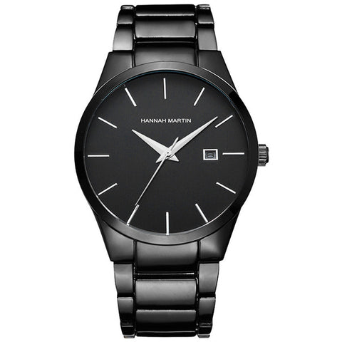 Stainless Steel Quartz Watch With Date - Black - Watches