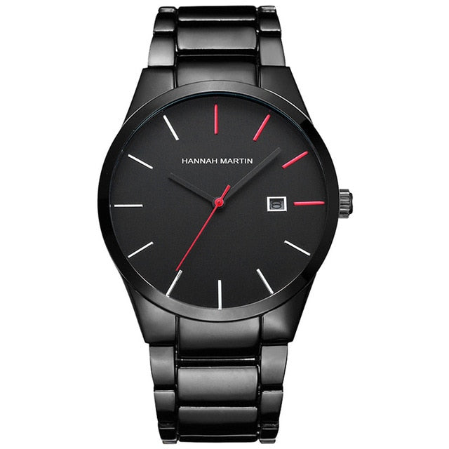 Stainless Steel Quartz Watch With Date - Black Red - Watches