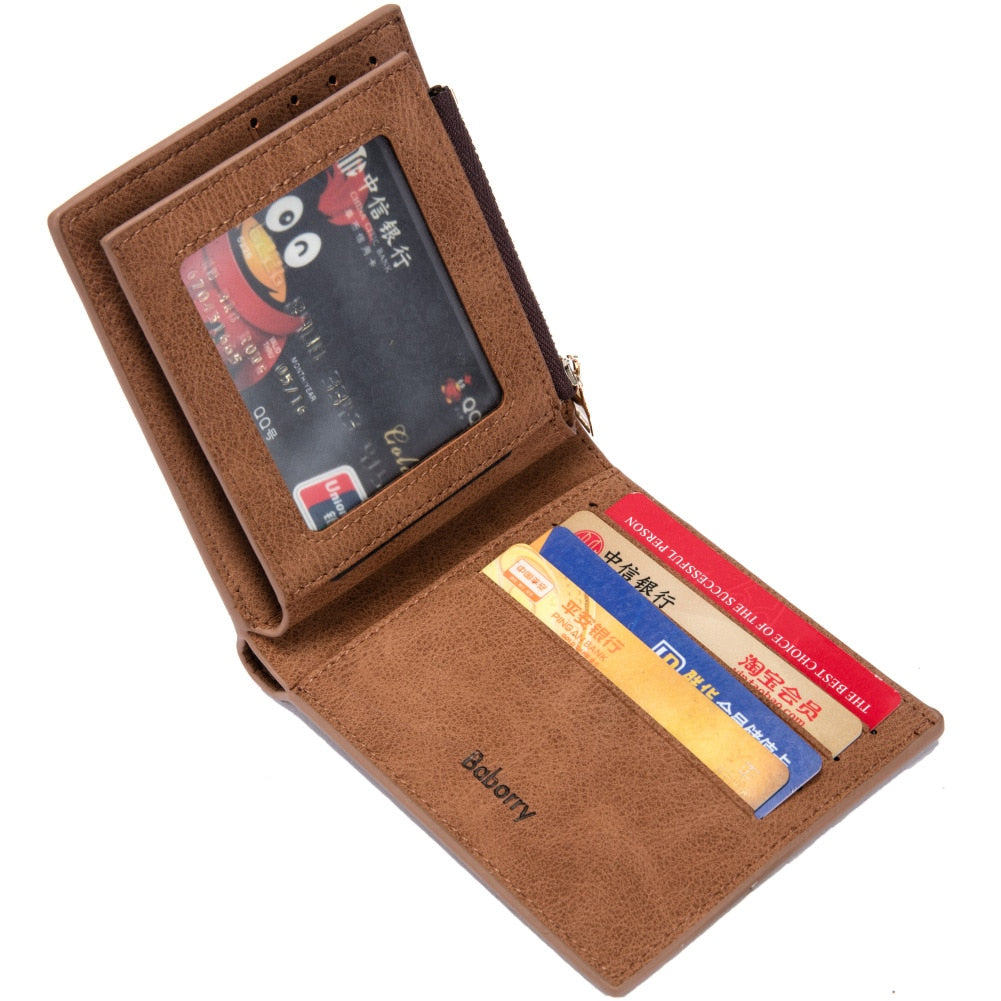 Leather Bifold Wallet With Zipper - Bifold Wallet