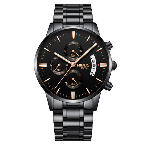 Stainless Steel Chronograph Watch - Black Gold - Mechanical Watches
