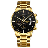 Stainless Steel Chronograph Watch - Gold Black - Mechanical Watches