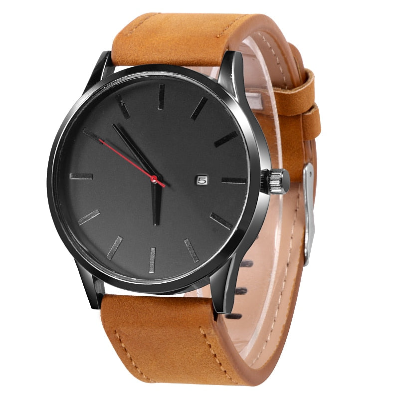 Simple Leather Quartz With Date - Watches