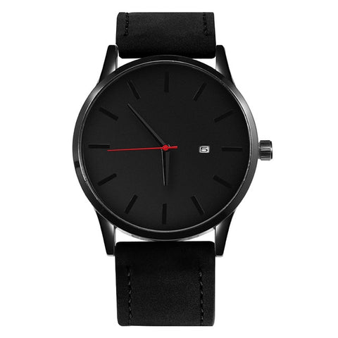 Simple Leather Quartz With Date - Black - Watches