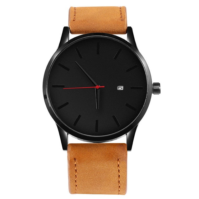 Simple Leather Quartz With Date - Brown Black - Watches
