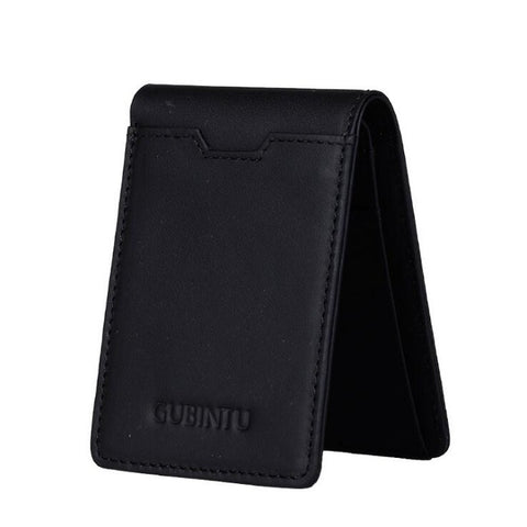 Mens Cowhide Bifold Wallet - Black - Bifold Wallet