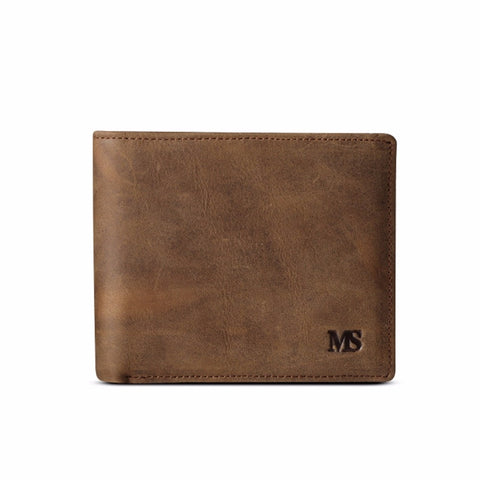 Leather Wallet With Coin Pocket - Brown - Bifold Wallet