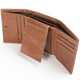 Trifold Wallet In Dark & Light Brown - Trifold Wallet