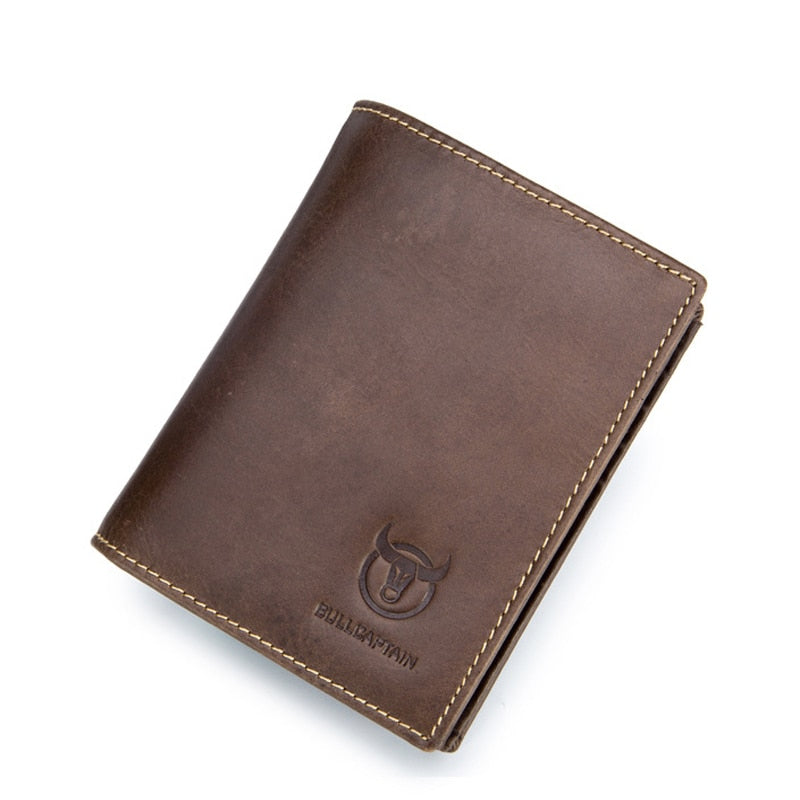 Leather Bifold Wallet With Photo Holder - Brown - Bifold Wallet