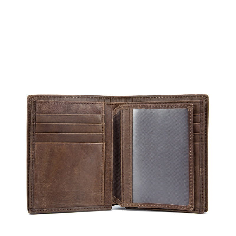 Leather Bifold Wallet With Photo Holder - Bifold Wallet