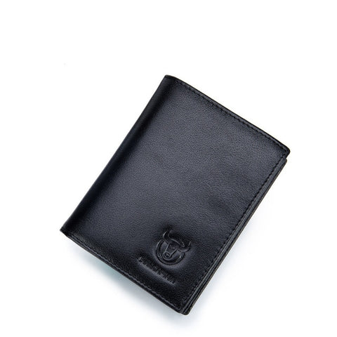Leather Bifold Wallet With Photo Holder - Black - Bifold Wallet
