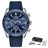 Waterproof Sports Watch - Leathe Silver Blue B - Mechanical Watches