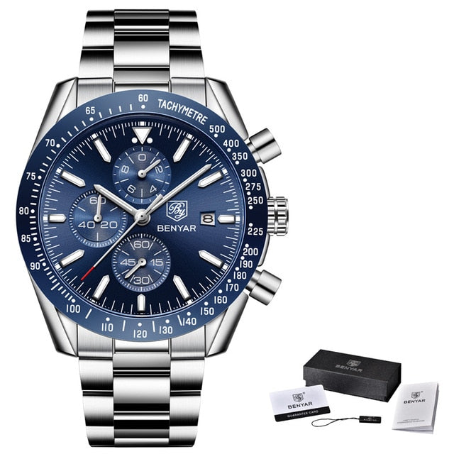 Waterproof Sports Watch - Steel Silver Blue B - Mechanical Watches