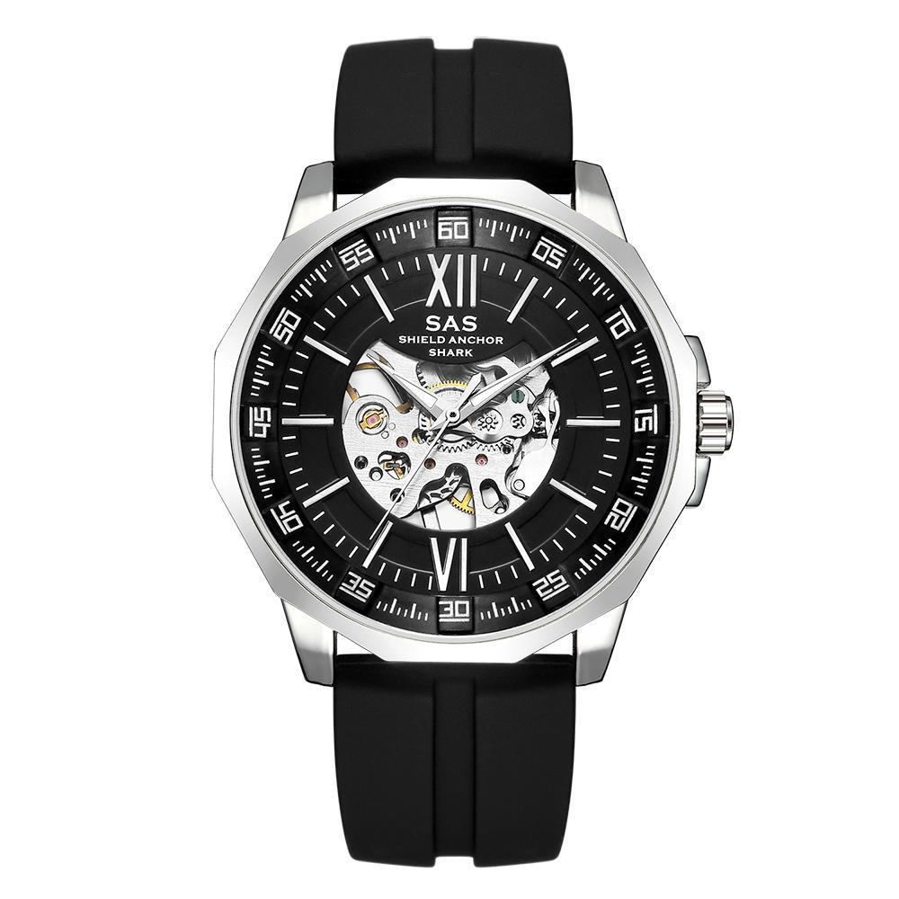 Black Clear Watch Face With Silicone Band - Mechanical Watches