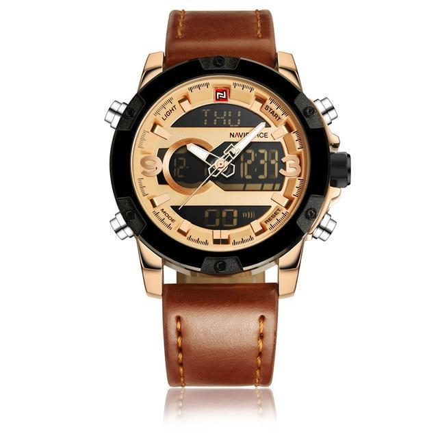 Dual Display Watch Loaded With Features - Rose Gold - Leather Watches