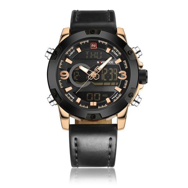 Dual Display Watch Loaded With Features - Gold Black - Leather Watches