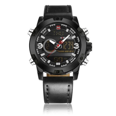 Dual Display Watch Loaded With Features - Black - Leather Watches