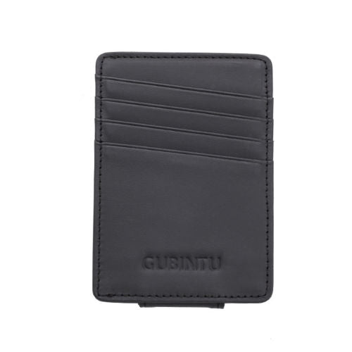 Leather Money Clip Magnet Wallet - Black - Minimalist Wallets For Men