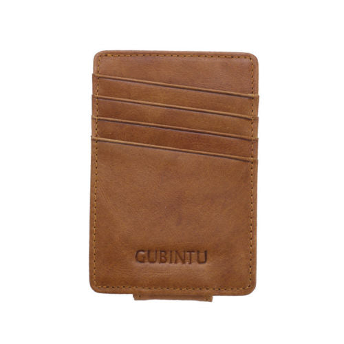 Leather Money Clip Magnet Wallet - Brown - Minimalist Wallets For Men