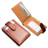 Minimalist Leather Portfolio Wallet With Id Holder - Bifold Wallet
