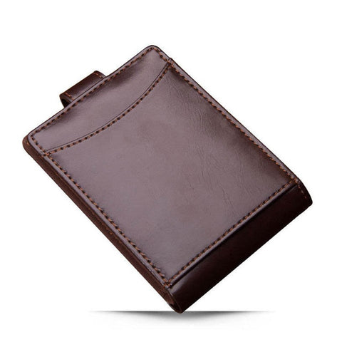Minimalist Leather Portfolio Wallet With Id Holder - Coffee - Bifold Wallet