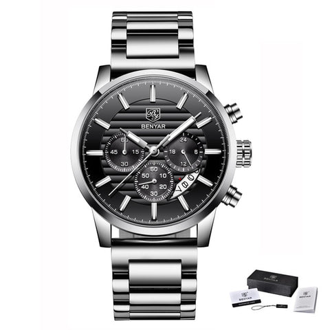 Mens Chronograph Sports Watch - Steel Black B - Leather Watches